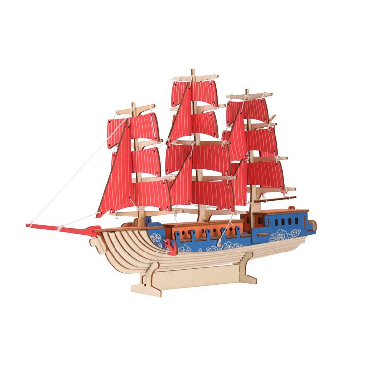 西洋帆船木制拼图