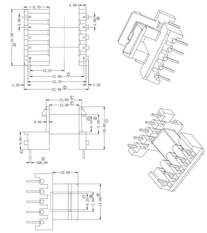 EF20變壓器骨架EF20電木骨架EF20臥式骨架  YTV-2007