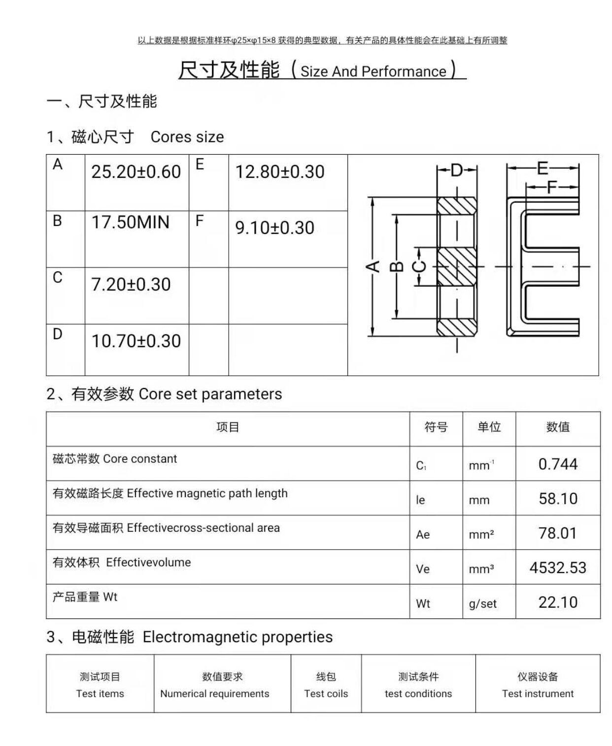 EF25-11變壓器磁芯EF25-11電感磁芯