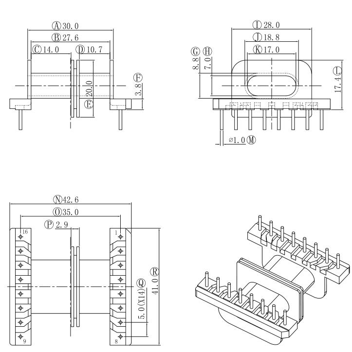 EFD40變壓器骨架EFD40電木骨架EFD40臥式骨架雙槽8+8針