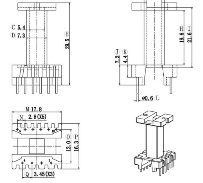 ??EEL19變壓器骨架EEL19電源骨架EE19加長骨架EEL20高頻骨架EEL19通訊骨架 YTL-1923