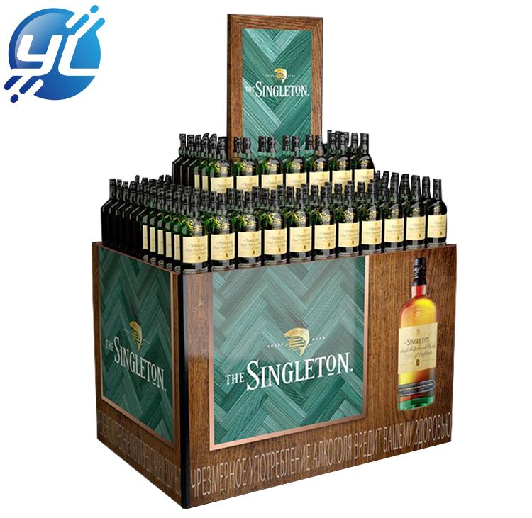 超市定制出售的木制酒柜展示架