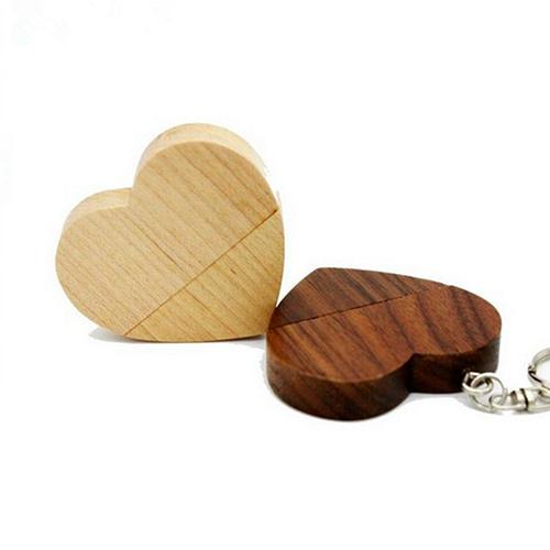 木质心型U盘