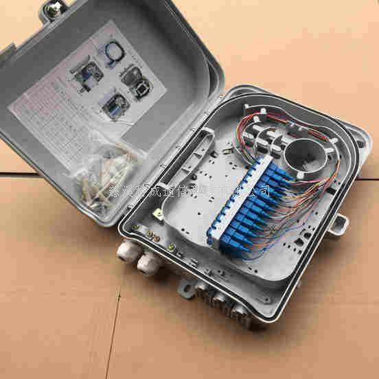 滿配24芯分纖箱光纜樓道FTTH光纖配線入戶箱(含法蘭尾纖)