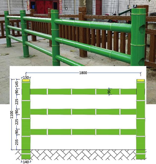 三層仿竹護欄