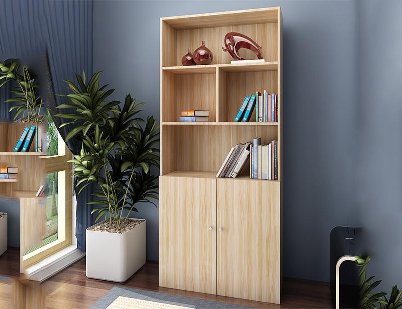 板式书柜简易书架木质对开门储物收纳柜子