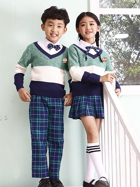 童裝拼色針織毛衣
